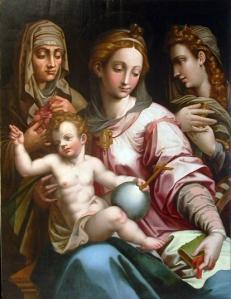 Virgen con el Niño Jesús, santa Catalina y santa Rosalía de Gaspar Becerra